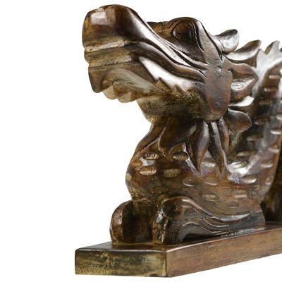 Geschnitzter Glücksdrache 80 cm Holzfigur Drache Krafttier Skulptur  – Bild 5