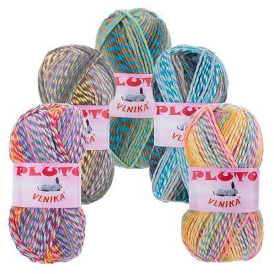 100g Strickgarn PLUTO Strick-Wolle mehrfarbig bunt Handstrickgarn Flauschig Farbwahl