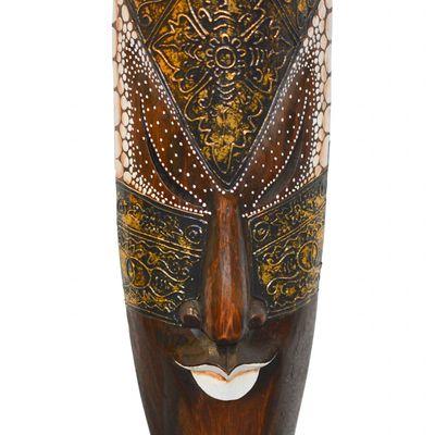 Wandmaske, 100cm, handmade, Dekomaske, Holzmaske Skulptur Bali, Echtholz, braun – Bild 3