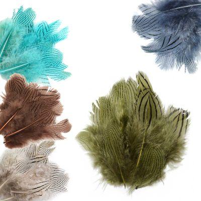 20 Fasanenfedern 5-11cm Farbwahl Fasching Kostüm Deko Flaum gestreift Streifen – Bild 1