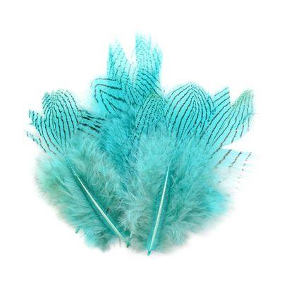 20 Fasanenfedern 5-11cm Farbwahl Fasching Kostüm Deko Flaum gestreift Streifen – Bild 2