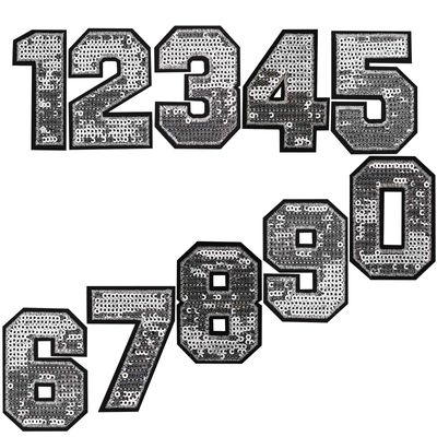 Zahl Pailletten Aufbügler 3-4,6x6,5cm silber Applikation Aufnäher Zahlen Ziffern