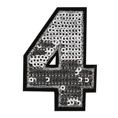 Zahl Pailletten Aufbügler 3-4,6x6,5cm silber Applikation Aufnäher Zahlen Ziffern – Bild 6