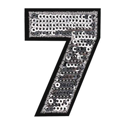 Zahl Pailletten Aufbügler 3-4,6x6,5cm silber Applikation Aufnäher Zahlen Ziffern – Bild 9