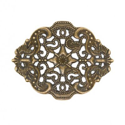 10 Deko-Ornament Verzierungen Scrapbooking oval 44x34x1mm antik bronze Metallornament