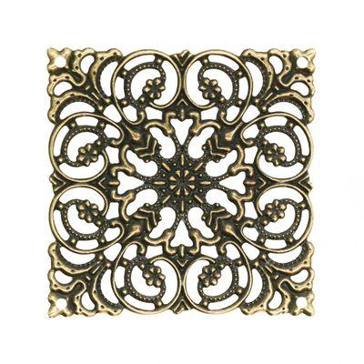 10 filigrane Deko-Ornamente 72mm Seite 51mm antik bronze - Verzierungen Quadrat – Bild 1