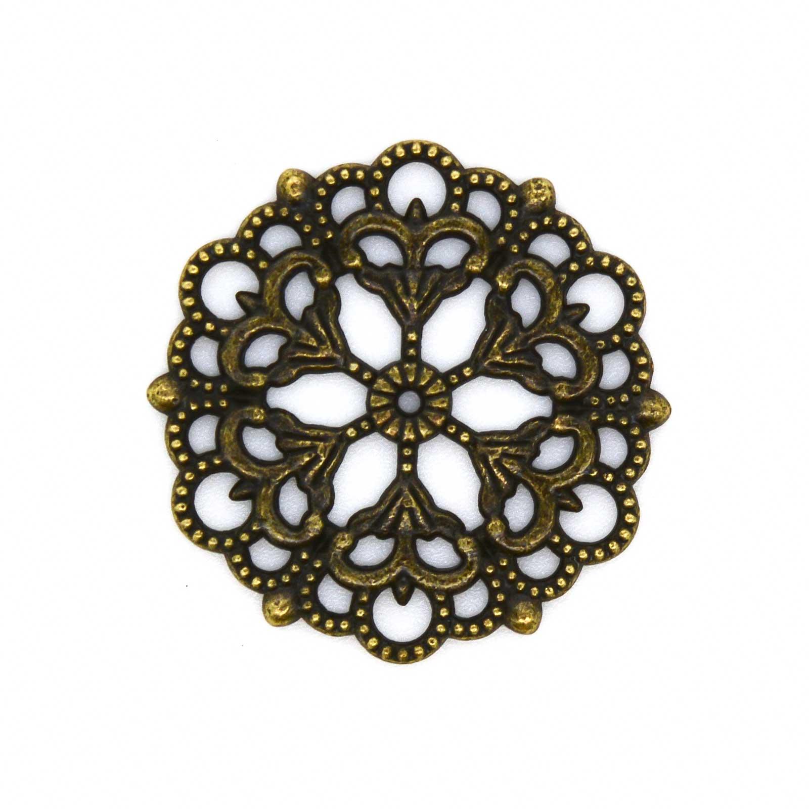 20 Deko-Ornament Verzierungen Blumenmotiv Scrapbooking, Ø29mm, antik bronze – Bild 1