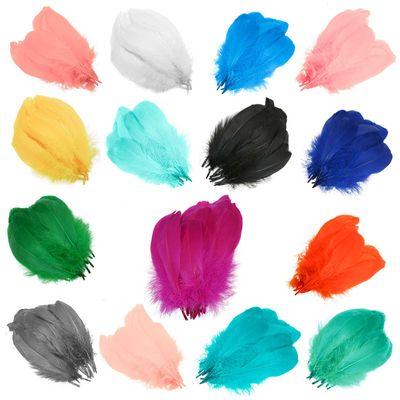 20 Gänsefedern Kostümzubehör ca. 14-17,5x4-5cm Farbwahl, Federn Bastelfedern