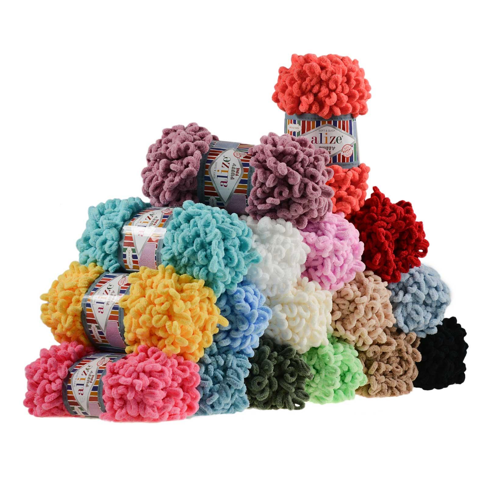 500g Strickgarn ALIZE Puffy Fine Uni, stricken ohne Nadeln auch für Anfänger geeignet – Bild 1