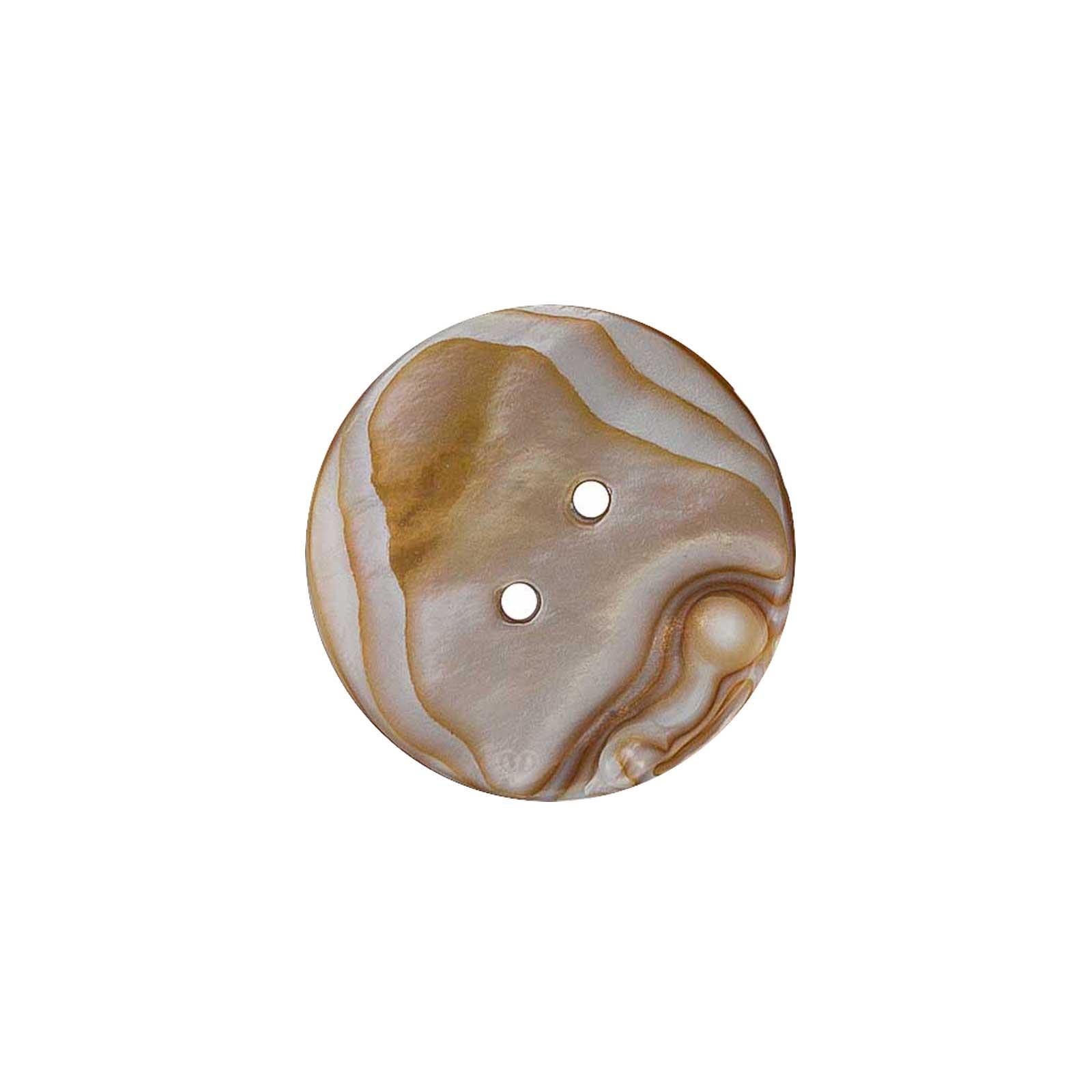 5 Elegante Perlmutt-Knopf rund, 2 Loch, Muschelknopf natur Größenwahl – Bild 8