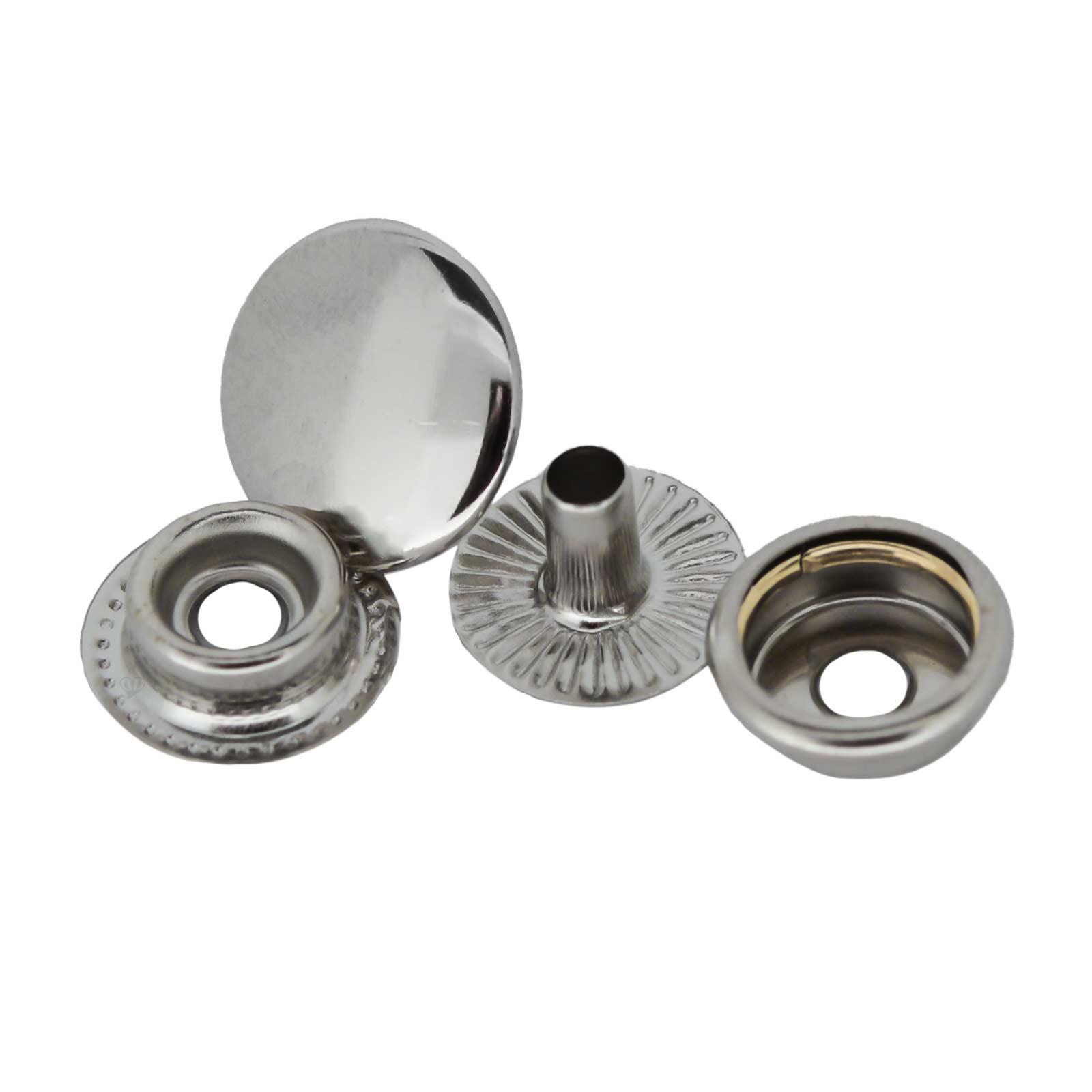 50 Stk Druckknopf Set rund Ring-Feder Verschlüsse Schnappknopf Metall Größen- /Farbwahl – Bild 8