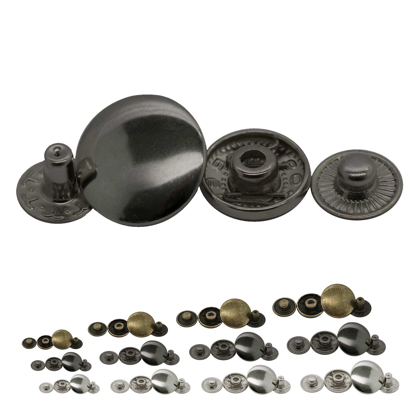 200 Stk Druckknopf Set rund S-Feder Verschlüsse Schnappknopf Metall Größen- /Farbwahl – Bild 1