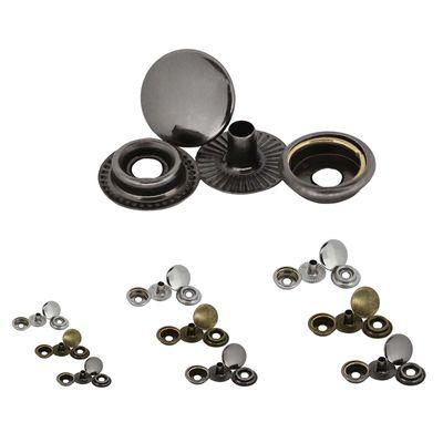 200 Stk Druckknopf Set rund Ring-Feder Verschlüsse Schnappknopf Metall Größen- /Farbwahl – Bild 1