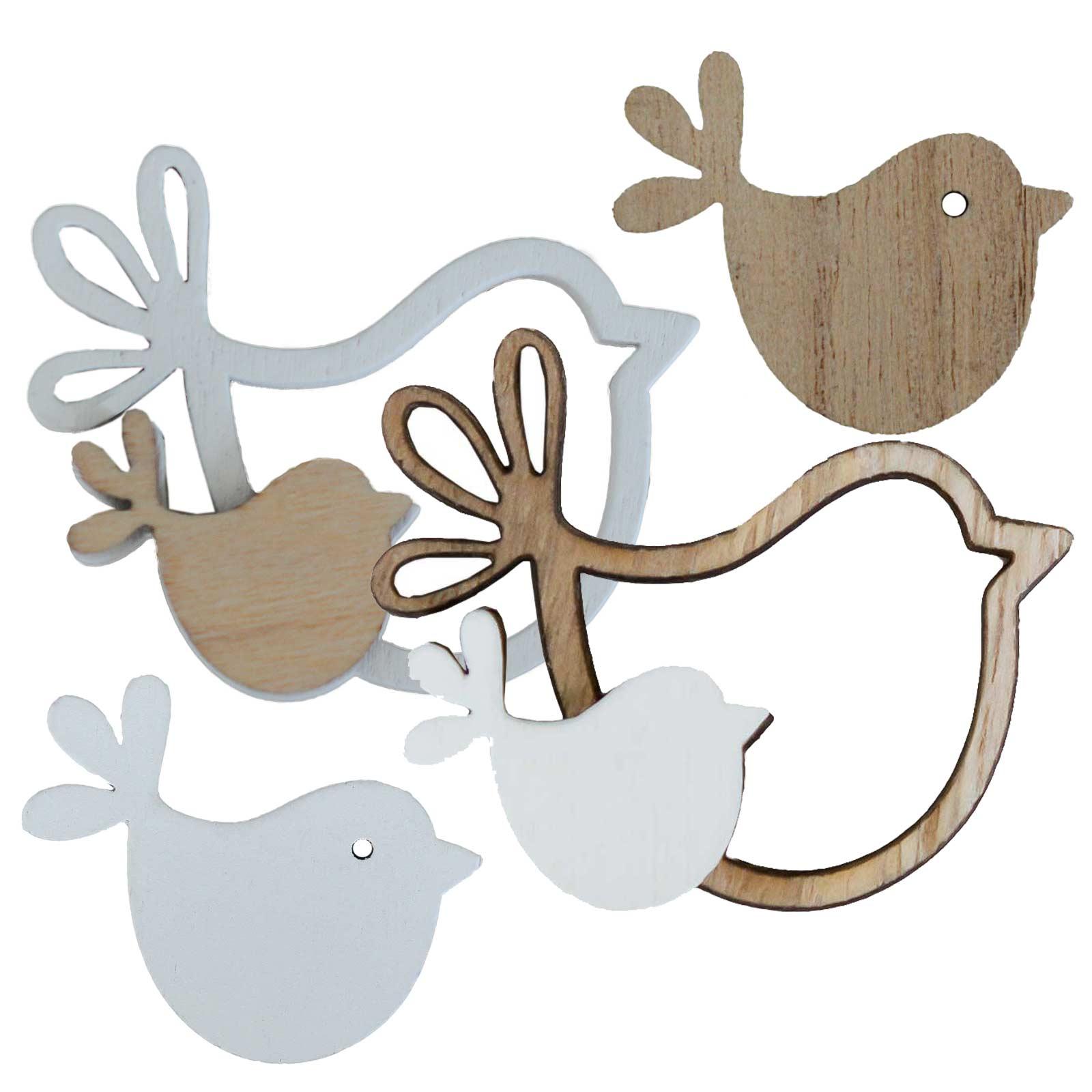 24 Deko Streudeko Streuartikel Vogel Holz - Dekoration, Farbmix – Bild 1