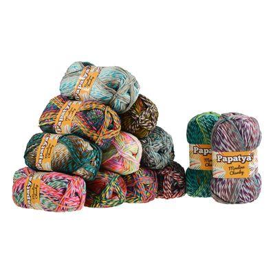 100g Strickgarn Papatya Mouline Chunky Strick-Wolle mehrfarbig Handstrickgarn Flauschig Farbwahl