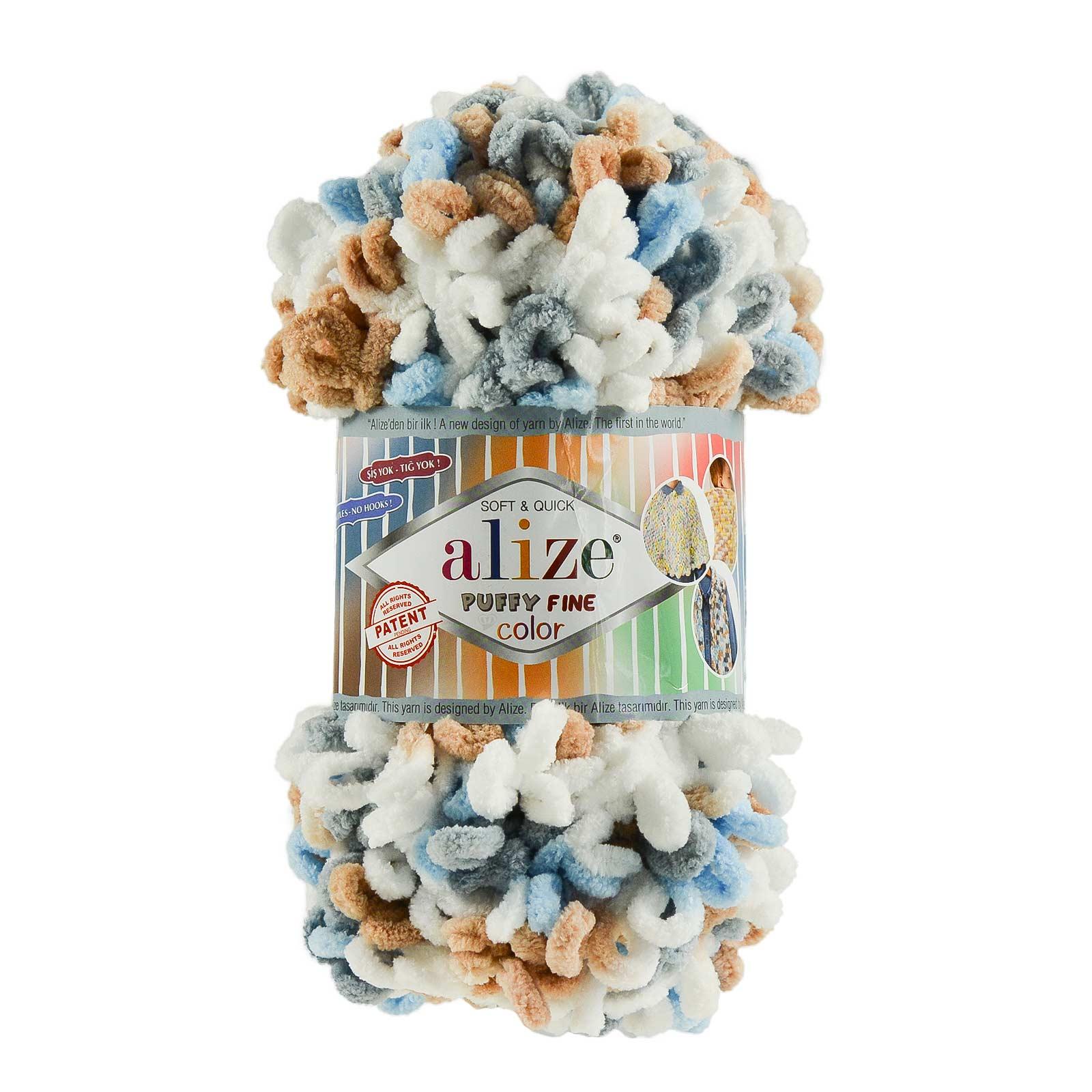 100g Strickgarn ALIZE Puffy Fine Color, Fingerstrick Fingerstrick-Wolle ohne Nadel – Bild 2