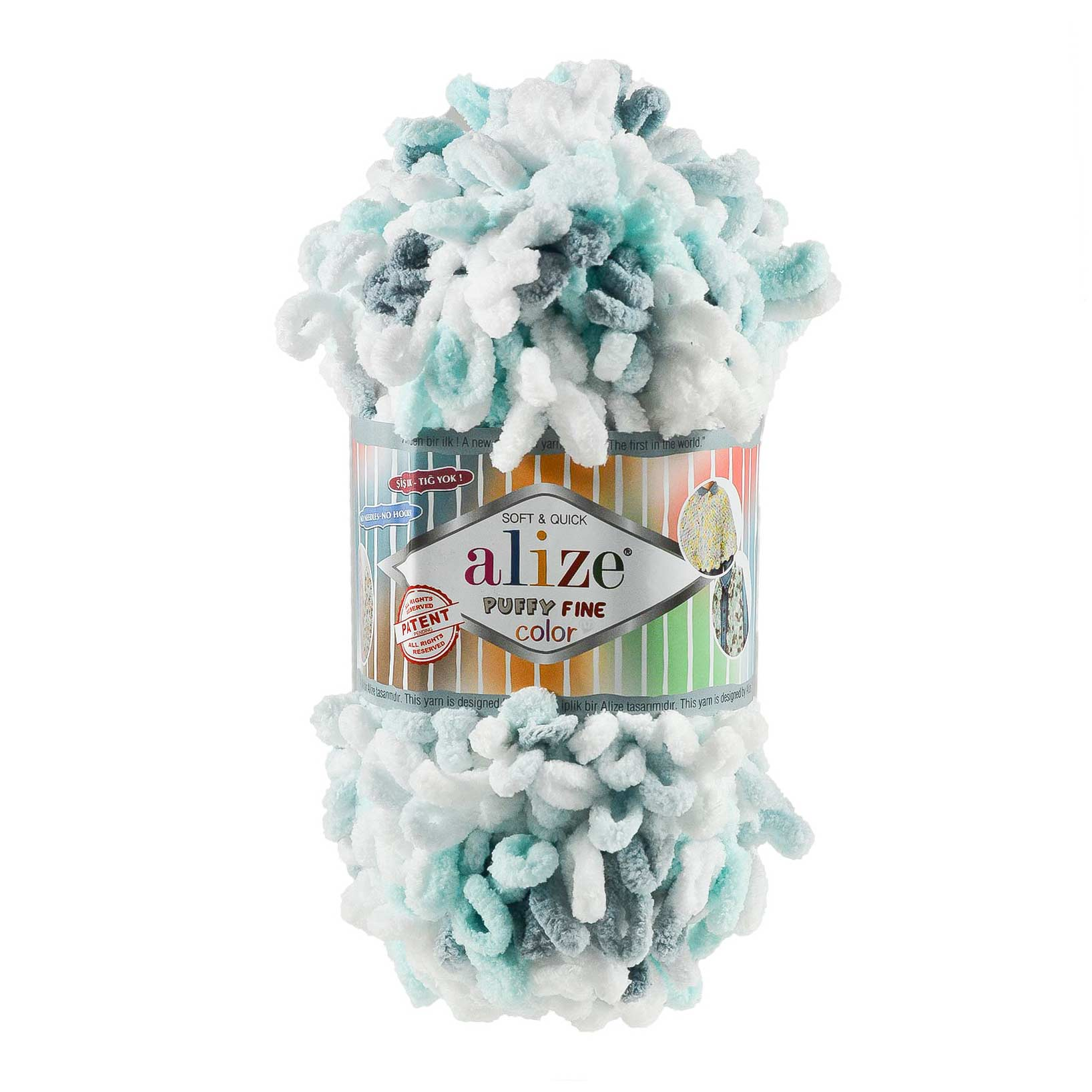 100g Strickgarn ALIZE Puffy Fine Color, Fingerstrick Fingerstrick-Wolle ohne Nadel – Bild 9