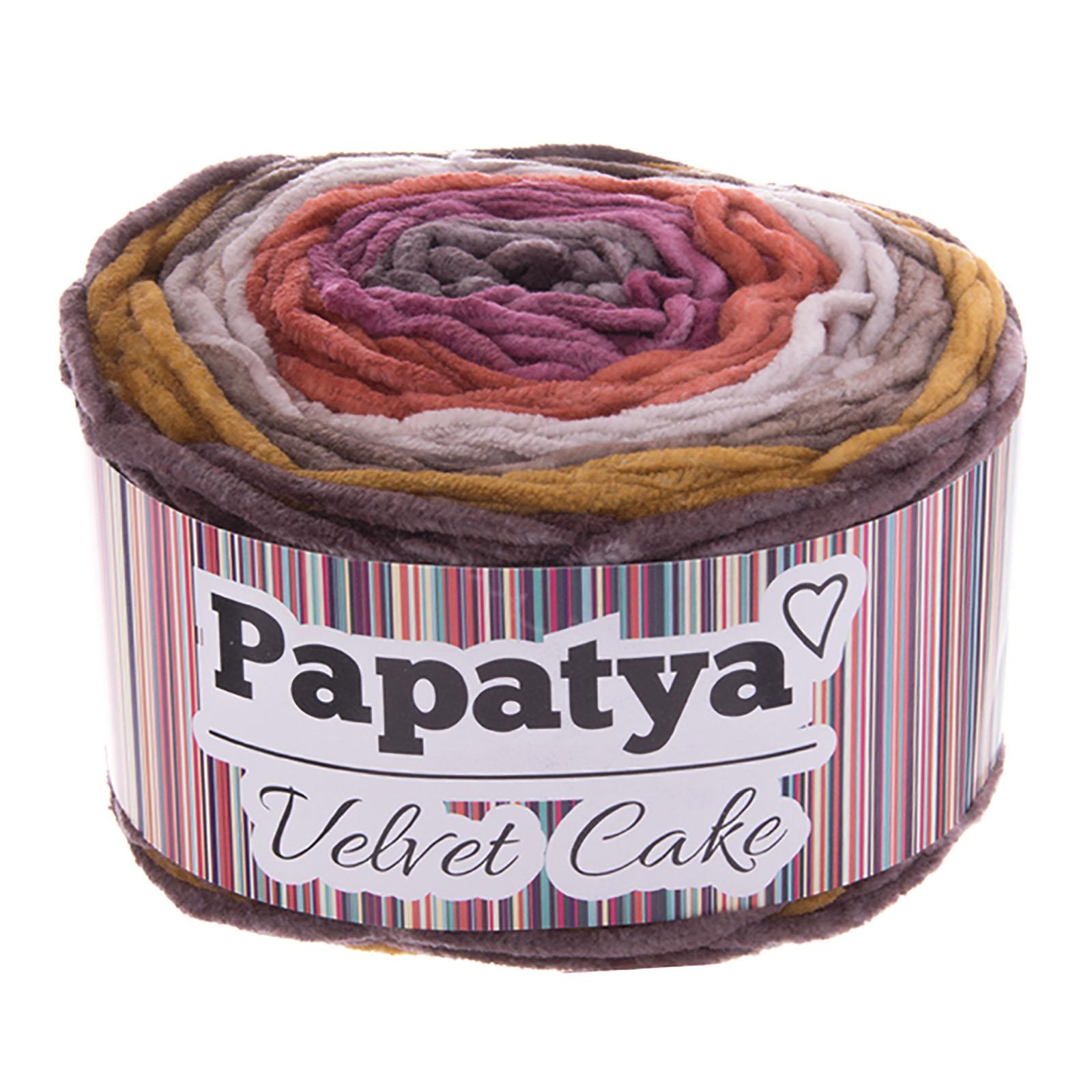 150g Farbverlaufsgarn Papatya Velvet Cake Bobbel Chenille-Strickgarn Strick-Wolle Strickgarn Farbwahl – Bild 8