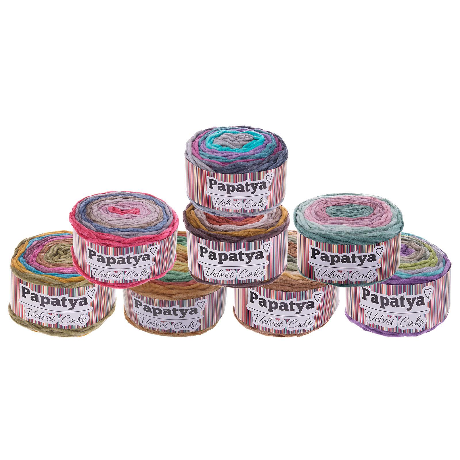 150g Farbverlaufsgarn Papatya Velvet Cake Bobbel Chenille-Strickgarn Strick-Wolle Strickgarn Farbwahl – Bild 1