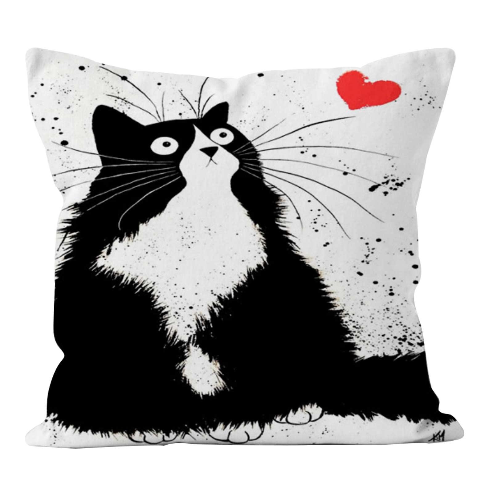 1 Kissenhülle Katzenfreund Kissenbezug Katzenmotiv Dekokissen Leinenstruktur – Bild 7