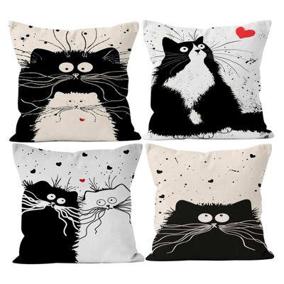 4 Kissenhülle Katzenfreund Mixpaket Kissenbezug Katzenmotiv Dekokissen Leinenstruktur