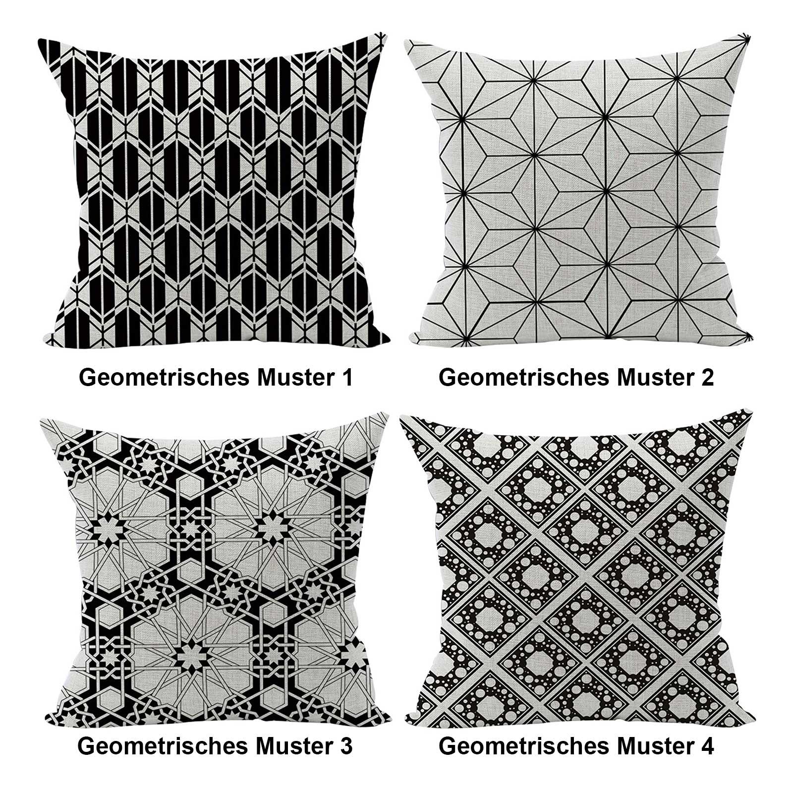 1 Kissenhülle Geometrische Muster Kissenbezug Dekokissen Leinenstruktur Zierkissen-Hülle – Bild 2