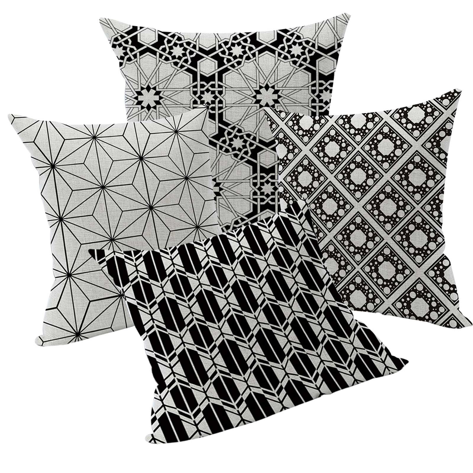4er Set Kissenhülle Geometrische Muster Kissenbezug Dekokissen Leinenstruktur – Bild 1