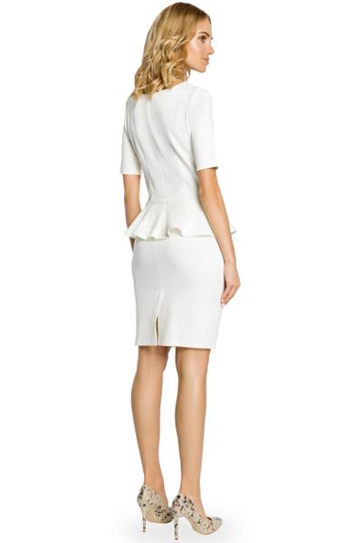 Clea Eng anliegendes Rüschen Kleid mit Einsatz