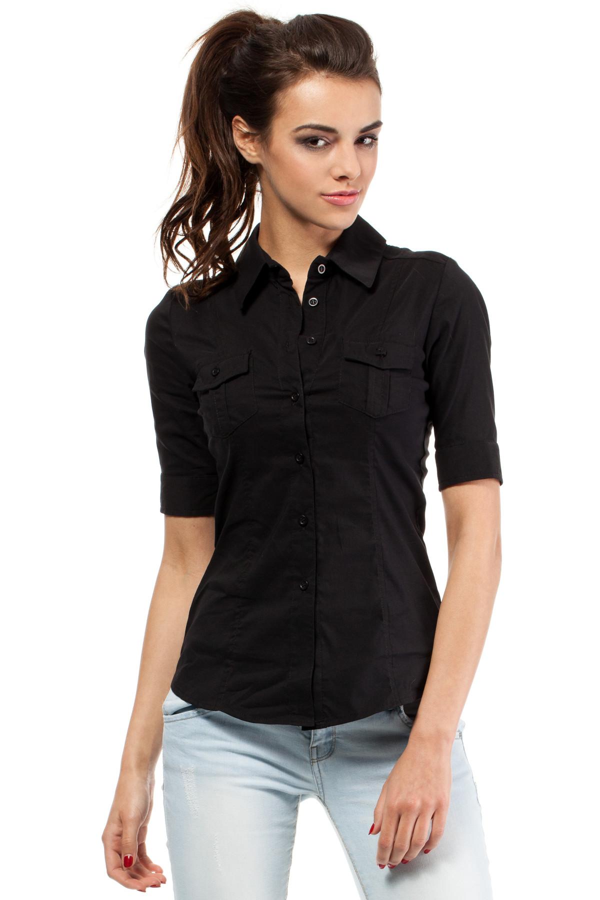 clea klassisches gestreiftes kariertes hemd elegantes hemd kurze rmeln kragen damen blusen. Black Bedroom Furniture Sets. Home Design Ideas