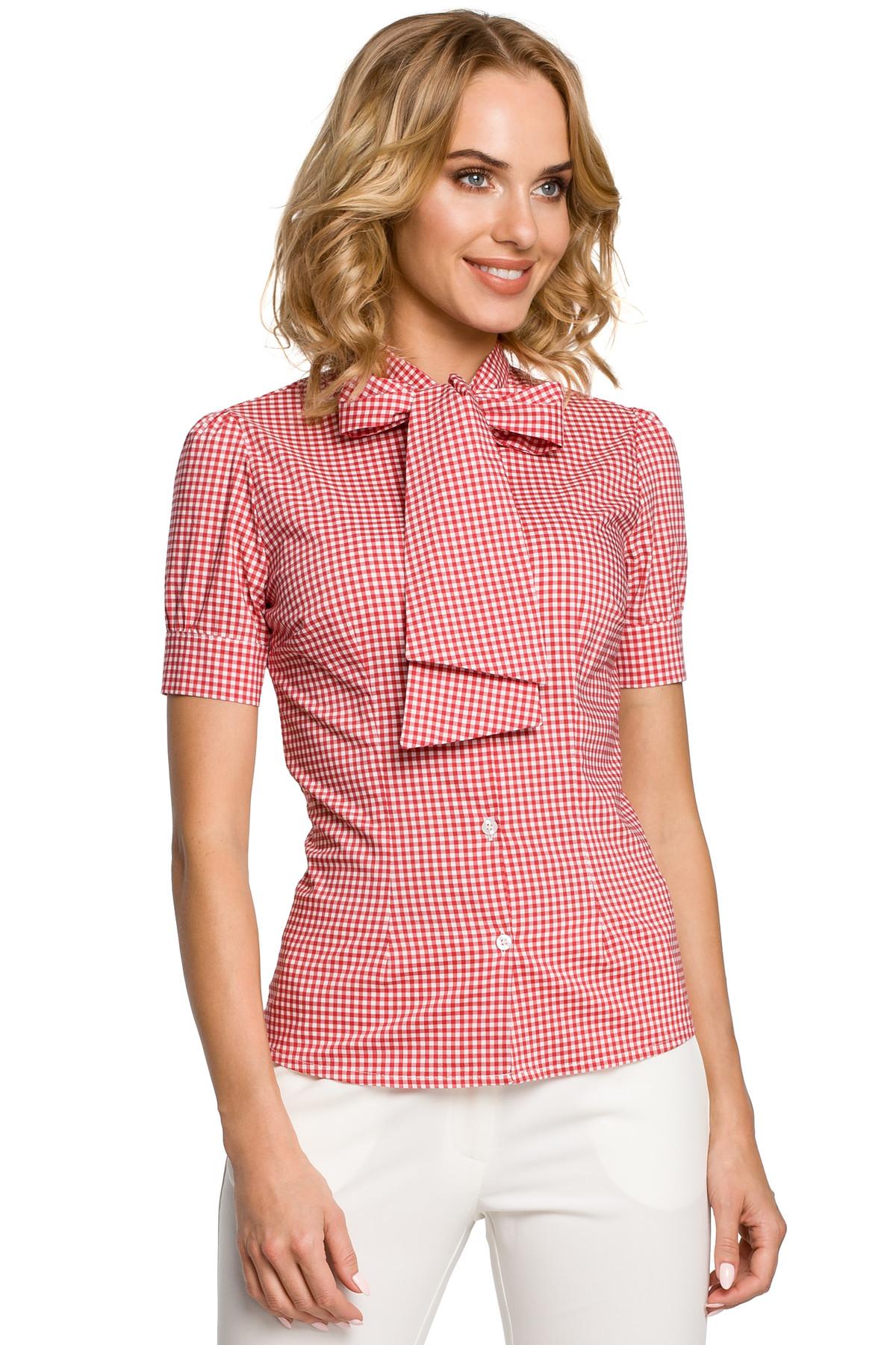 Clea Tailliertes, kariertes Hemd mit Puffärmel und Stehkragen Damen ...