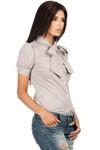Clea Tailliertes, kariertes Hemd mit Puffärmel und Stehkragen