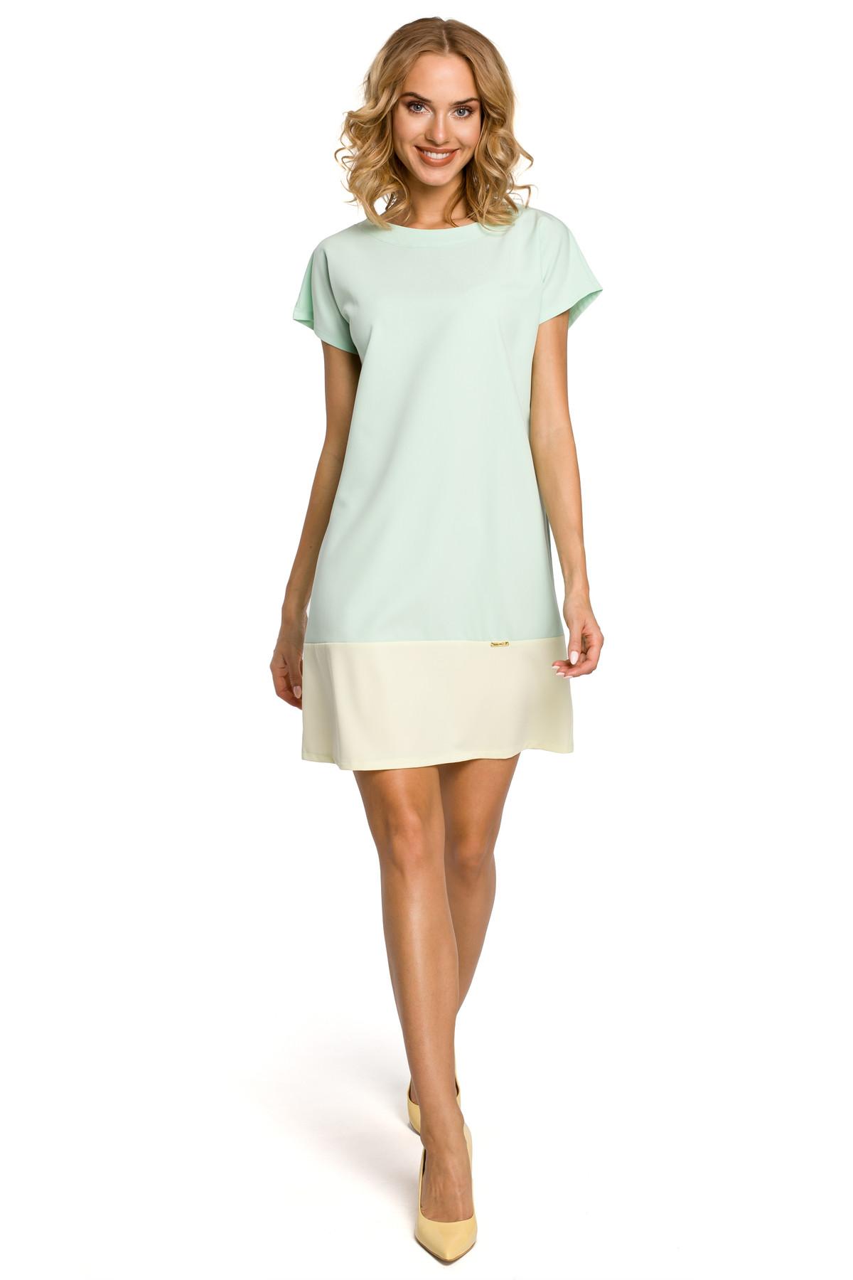 Clea Zweifarbiges Mini-Kleid mit leichtem Ausschnitt und kurzen ...