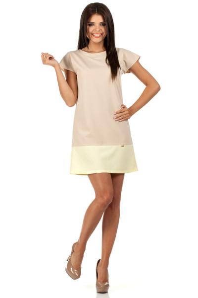 Clea Zweifarbiges Mini-Kleid mit leichtem Ausschnitt und kurzen Ärmeln