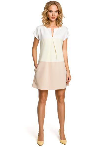 Clea Trapezförmiges Kleid mit Schlitz am Ausschnitt in Pastellfarben