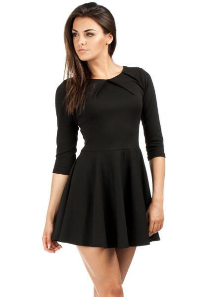 Clea Elegantes Kleid mit Falten 3/4 Ärmel glockig modernster Schnitt