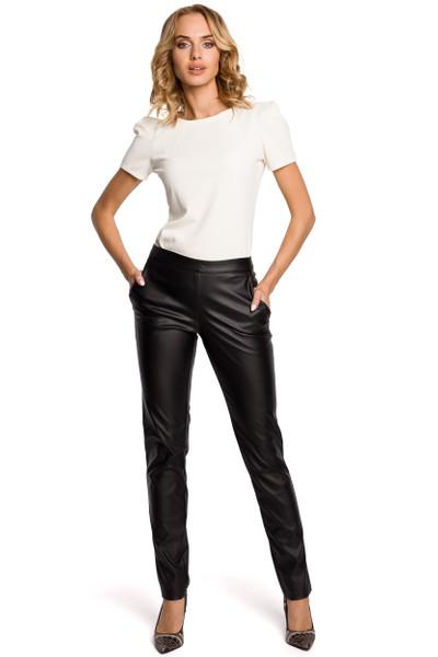 Clea Elegante Hose Röhrenhose aus Kunstleder