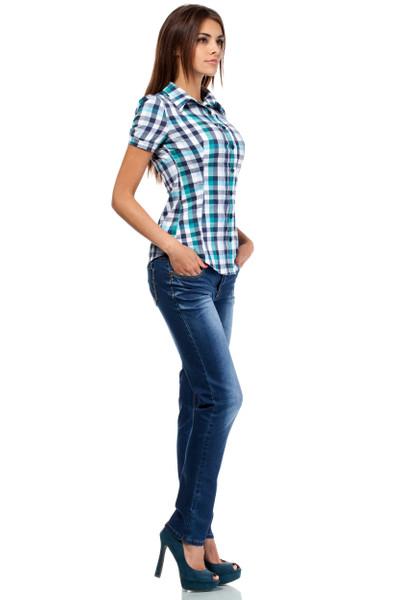 Clea Klassisches Hemd kariertes Hemd kurzarm