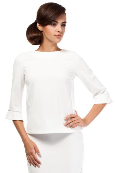 Clea Damen Bluse mit Reißverschluss und 3/4- Ärmel