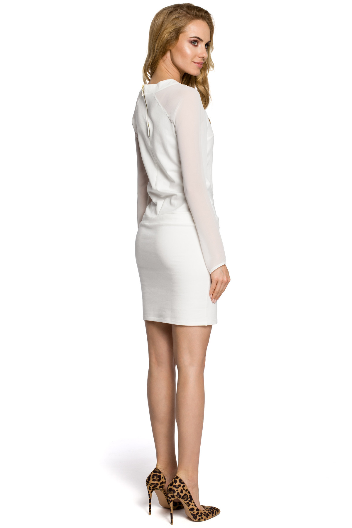Clea Damen Kleid Cocktailkleid Minikleid Chiffon Chiffoneinsätze ...