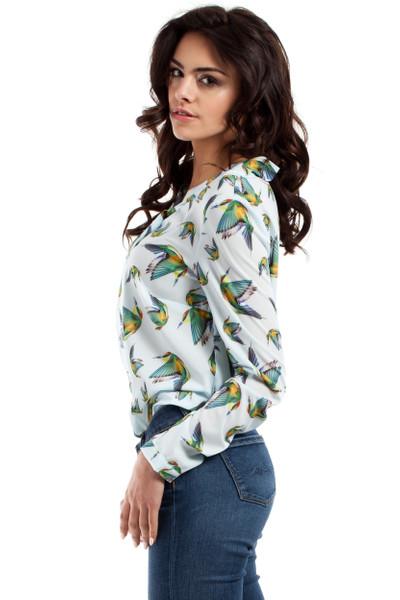 Clea Luftige Bluse Hemd Schmetterling Kolibri Kolibris mit einer Plisseefalte