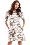 Clea Komfortables, A-förmiges Camouflage Kleid in Tarnfarben