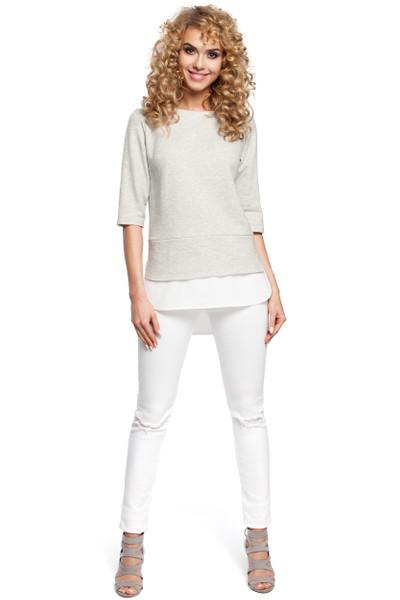 Clea Doppelte Bluse mit zwei Stoffen