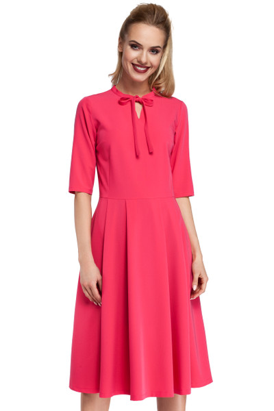 Clea Kleid glockige Unterteil V-Ausschnitt mit Schleife