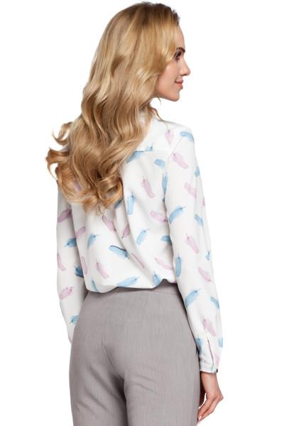 Clea Luftige Bluse mit einem Aufdruck und Stehkragen