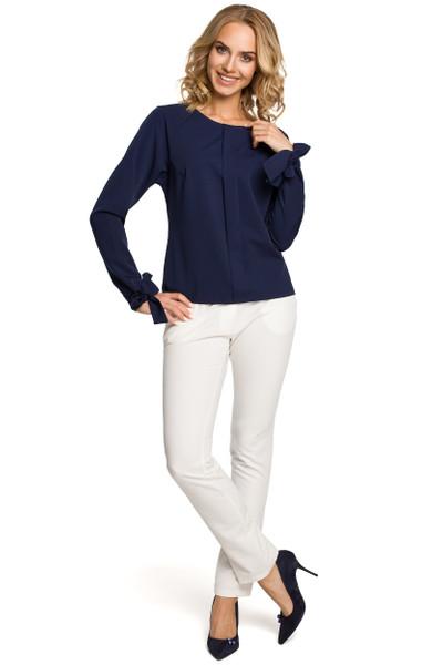 Clea Bluse mit Plisseefalte und mit Bindung an Manschetten