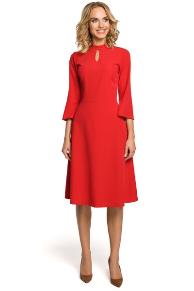 Clea Kleid mit Tränchen am Ausschnitt und mit glockigen Ärmeln
