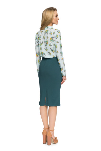 Clea Bluse mit Schleife Stehkragen und Kolibri-Muster