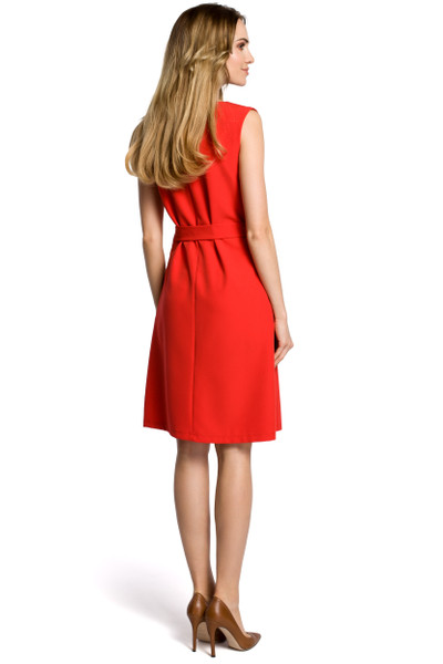 Clea Ärmelloses Kleid mit Falte in der Mitte und Gürtel