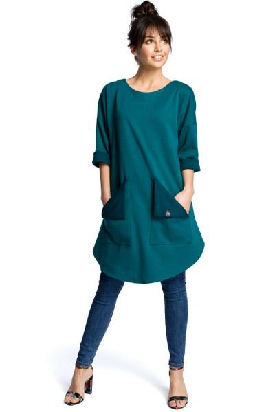 Clea Tunika-Kleid mit abgerundetem Saum und gefütterten Taschen