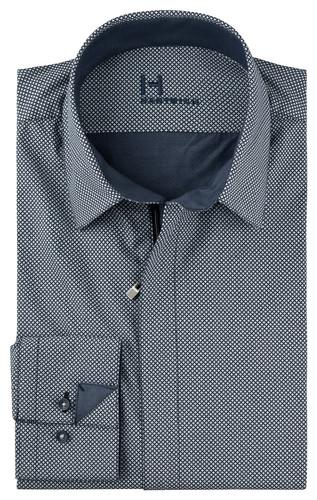 Stampino-Kent -  Reißverschlusshemd bedruckt blaugrau